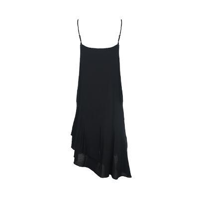 unbalance hem line silky dress black1